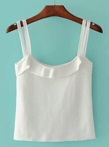 Frill Trim Strappy Cami Top