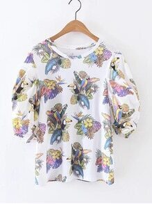 Puff Sleeve Parrot Print Top