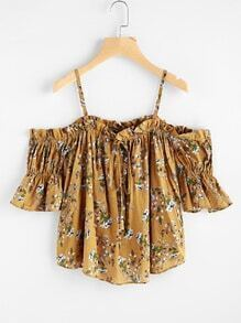 Open Shoulder Floral Print Random Drawstring Blouse