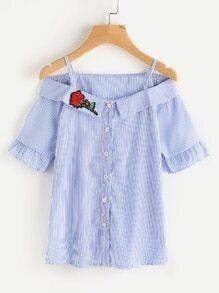 Open Shoulder Foldover Neck Rose Patch Stripe Blouse