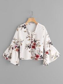 Trumpet Sleeve Floral Print Lace Up Pleated Blouse