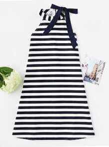 Halter Neck Stripe Bow Tie Dress