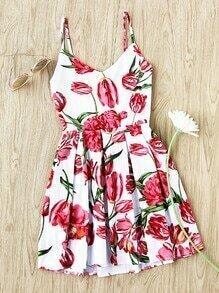 Robe imprimée fleuri avec des plis