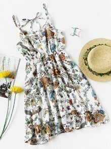 Floral Print Self Tie V Back Cami Dress