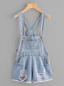 Destroyed Fray Hem Denim Dungaree Shorts