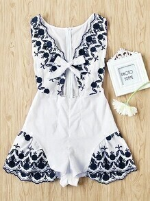 Embroidered Bow Tie Open Front Romper