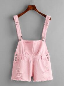 Distress Fray Hem Denim Dungaree Shorts