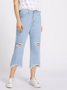 Destroy Raw Cut Fray Hem Crop Jeans