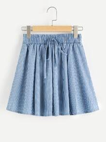 Vertical Striped Drawstring Waist Skirt