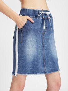 Side Panel Raw Cut Fray Hem Drawstring Skirt