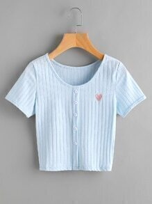 Love Embroidered Button Front Ribbed Tee
