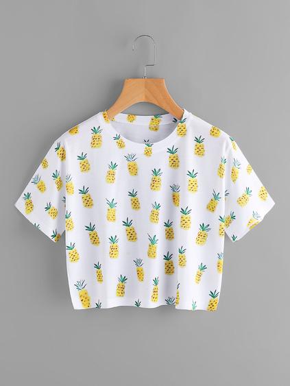 c15496e18d Home · Tops · T-shirts  Pineapple Print Tee