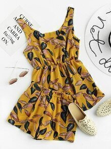 Leaf Print Random Elastic Top And Shorts Set