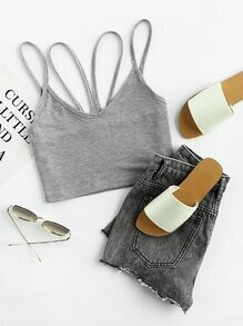 Double Strappy Slub Crop Top