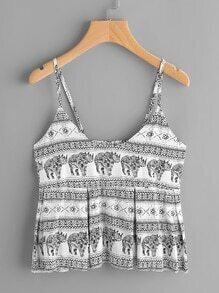 Elephant Print Box Pleat Cami Top