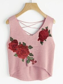 Rose Patch Lace Up Back Dip Hem Top