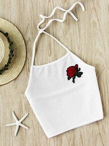 Halter Neck Rose Embroidered Patch Ribbed Top