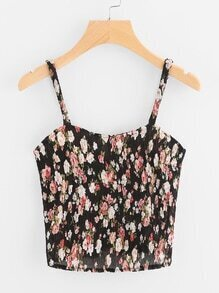 Ditsy Print Random Pleated Cami Top