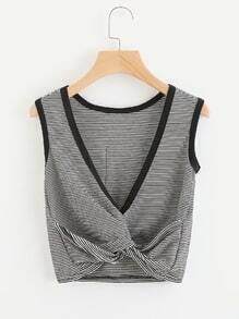 Pinstripe Twist V Back Ringer Tank Top
