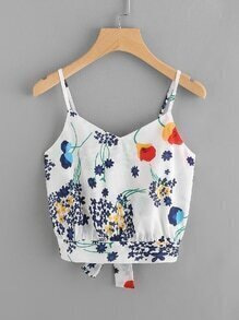 Floral Split Bow Tie Back Crop Cami Top