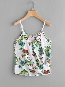 Floral Print Random Surplice Cami Top