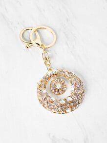 Rhinestone Embellished Hollow Circle Keychain