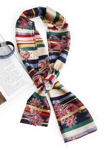 Striped & Disty Print Stain Skinny Scarf
