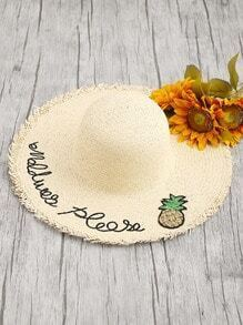 Sequin Pineapple Detail Raw Trim Straw Hat