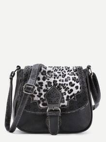 Laser Cut Detail Shoulder Bag With Leopard Flap