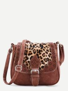 Laser Cut Detail Shoulder Bag With Leopard Flap