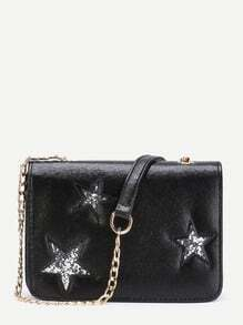 Glitter Star Crossbody Bag With Chain