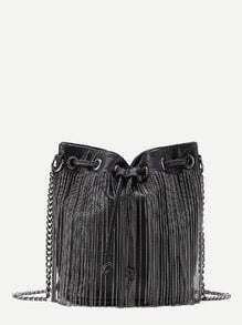 Chain Fringe Design Drawstring PU Bucket Bag