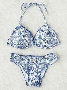 Porcelain Print Frill Trim Bikini Set