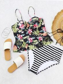 Calico & Striped Print Peplum Tankini Set