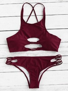 Cutout Front Cross Back Bikini Set