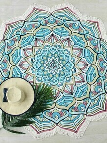 Lotus Flower Print Fringe Trim Beach Blanket