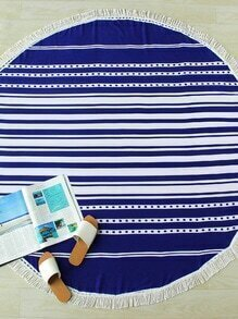 Block Striped Fringe Trim Round Beach Blanket