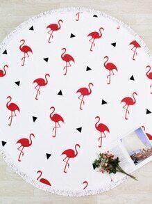 Flamingo Print Fringe Trim Round Beach Blanket