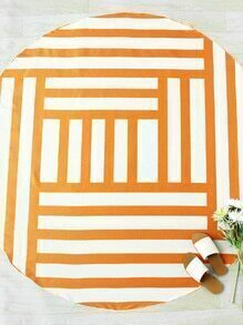 Two Tone Striped Print Round Beach Blanket