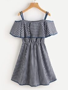 Contrast Trim Gingham Frill Layered Dress