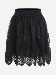 Crochet Trim Embroidered Mesh Overlay Skirt
