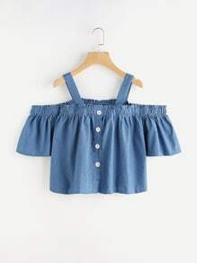 Shirred Cold Shoulder Denim Top