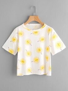 Lemon Slices Print T-shirt
