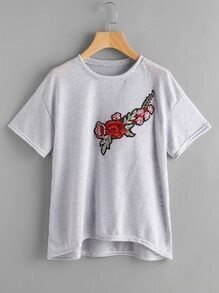 Embroidered Applique Dip Hem Tshirt