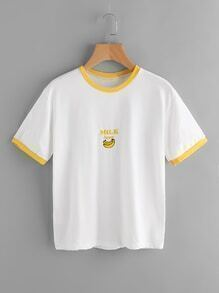 Milk Banana Embroidered Ringer Tee