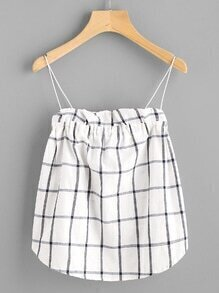 Windowpane Frill Trim Dip Hem Cami Top