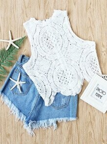 Hollow Out Crochet Scallop Hem Zipper Back Tank Top