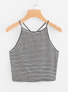 Striped Y Back Crop Cami Top