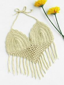 Hollow Out Crochet Fringe Hem Halter Top