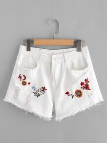 Frayed Trim Flower Embroidered Denim Shorts